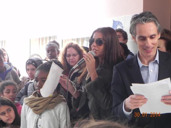 O discurso do Diretor do Agrupamento, João Amaral, e da Catarina Furtado